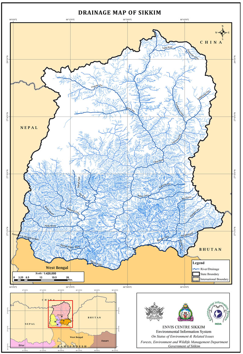 Drainage Map of Sikkim